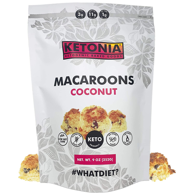Ketonia® Keto Coconut Macaroons - 16 Hand Made Macaroons - 1/2 G Net Carbs Each - Low Carb Snack Cookies, Gluten Free & No Sugar Added - Healthy Diabetic, Paleo, Dessert Sweets, Diet Foods