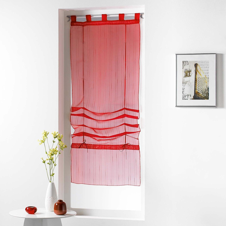 Douceur d' interno Store diritto a passanti Voile Graffia orizzonte Rosso, Poliestere, Bianco, 180 x 60 cm 180x 60cm L3C 1625505
