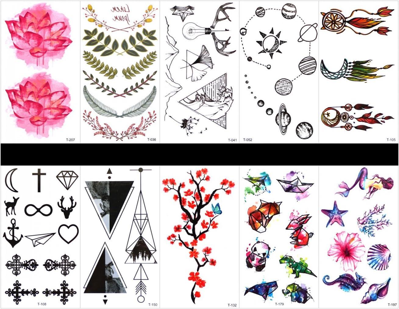 tatuajes falsos reales en 1 paquete, incluyendo corona, tote, flor ...