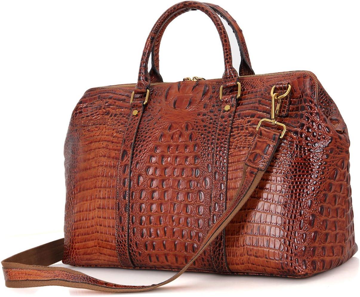 Genda 2Archer Crocodile Embossed Leather Overnight Travel Duffle Weekend Bag