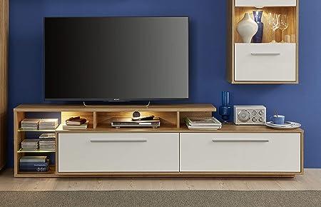 Trendteam Mueble, Mueble bajo, Korpus Alteiche Dekor, Blanco brillante, 212 x 52 x 190.5 cm: Amazon.es: Hogar