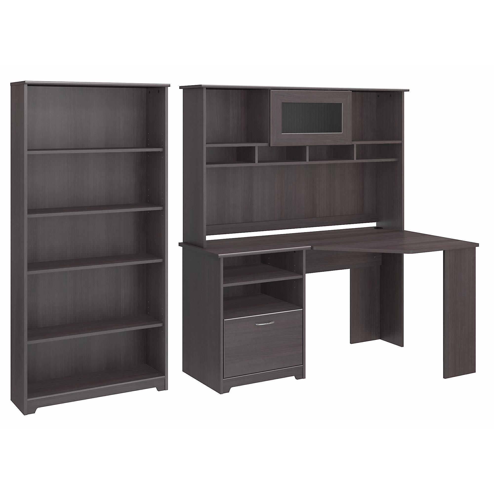 Bush Furniture Cabot Corner Desk with Hutch and 5 Shelf Bookcase in Heather Gray by Bush Furniture