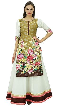 Bimba Womens Classy Cotton Long Skirt Like Dress Kurta Kurti Party Indian Ethnic Clothing