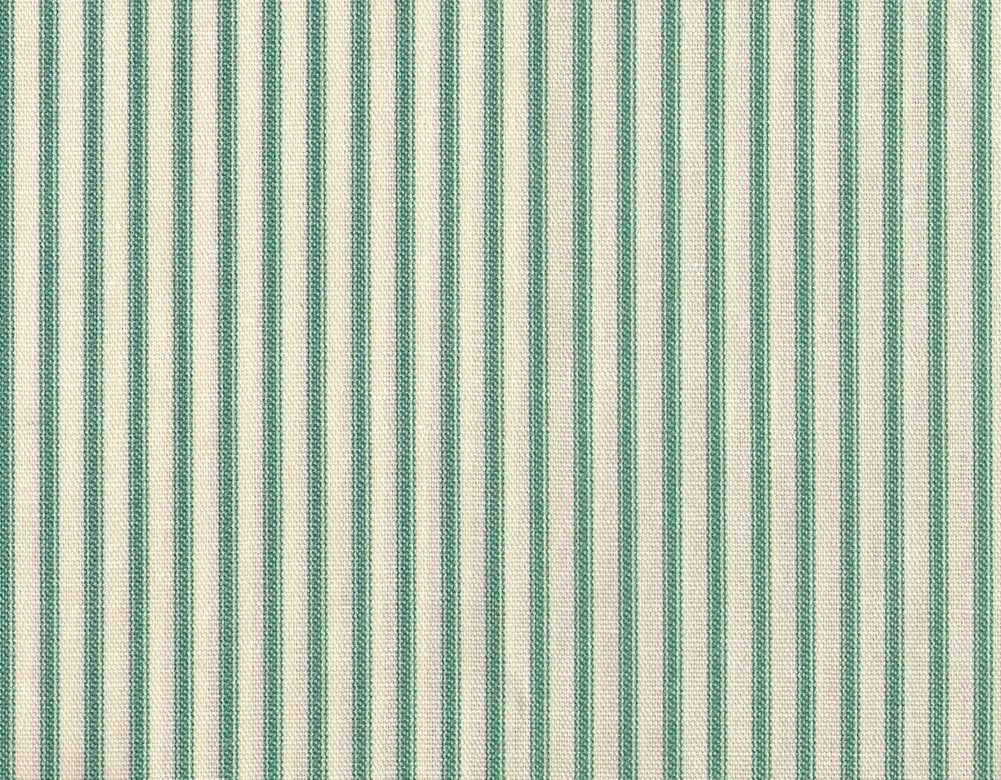 French Country Ticking Stripe Pool Blue-Green 75 x 72 inch Cotton Shower Curtain, Unlined