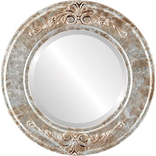 Round Beveled Wall Mirror for Home Decor – Ramino Style – Champagne Silver – 35×35 Outside Dimensions