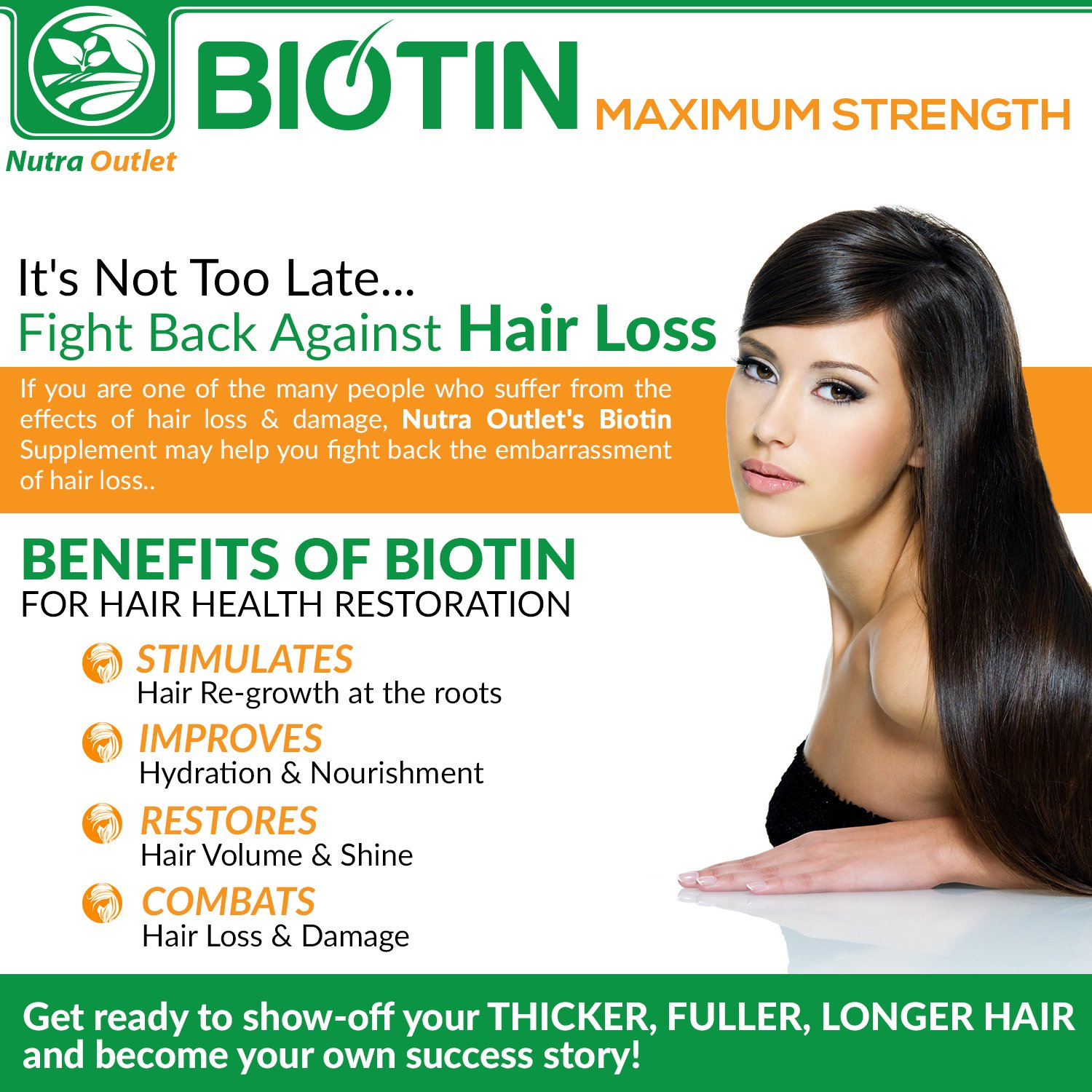 High Potency Biotin 10000mcg Supplement - 90 Capsules - Pure Natural Biotin  for Hair Growth - Prevent