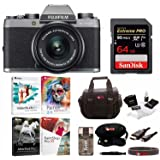 Fujifilm X-T100 Mirrorless Camera w/XC15-45mm F3.5-5.6 OIS PZ Lens (Silver) w/Editing Software and Memory Card Bundle