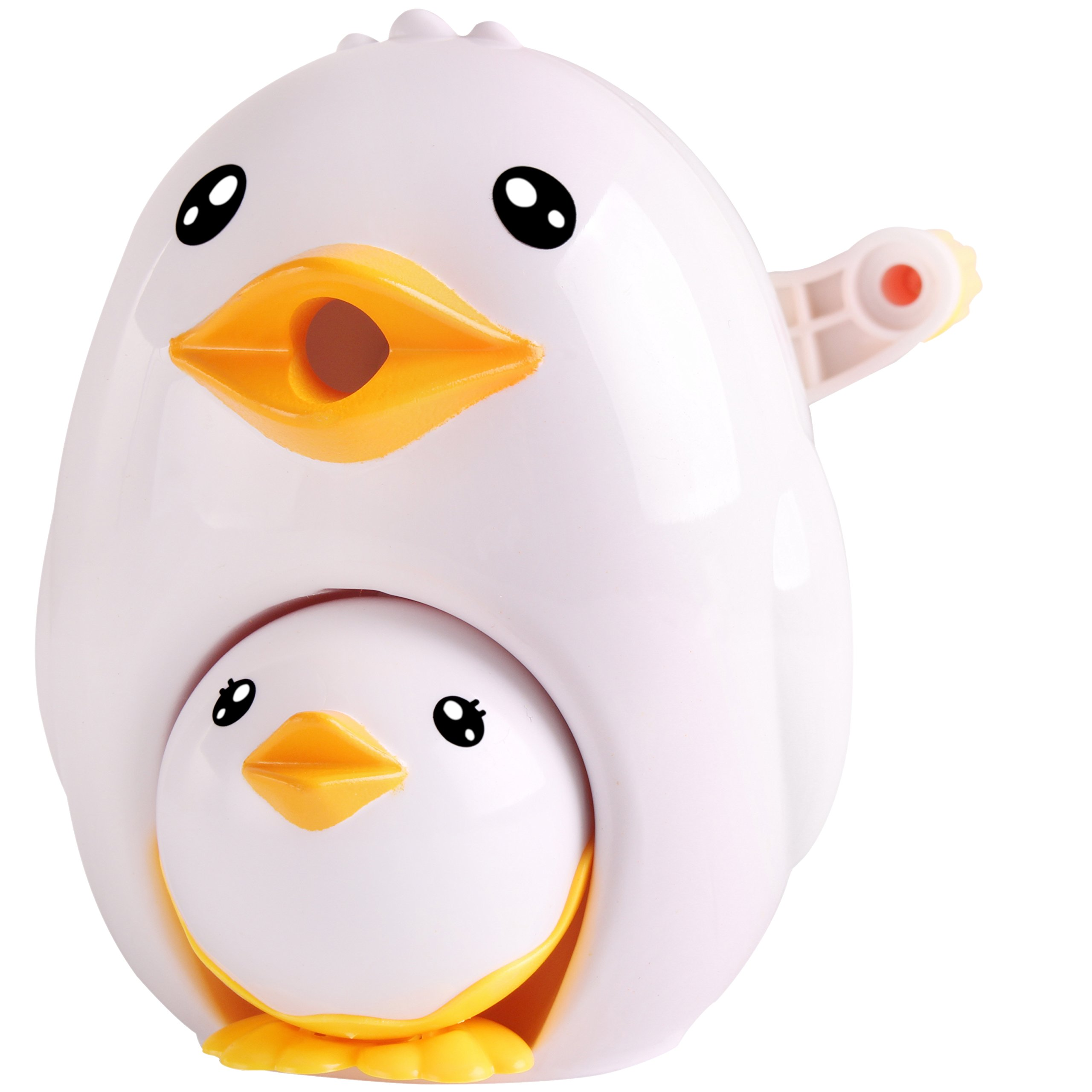 Manual Pencil Sharpener,Quiet for Office,Home and School with Mutifunction Cute Parent-Child Chicken Design (White)