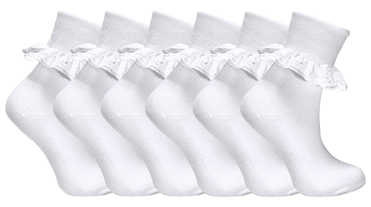 6 Pairs of Girls White Fancy lace Cotton ankle socks All sizes