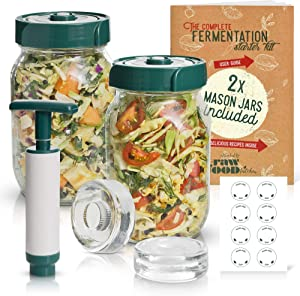 The Complete Fermentation Kit. WITH 32 oz Mason Jars, Silicon Airlock Lids, Fermenting Weights, Pump, Recipes & Glass Jar Labels!