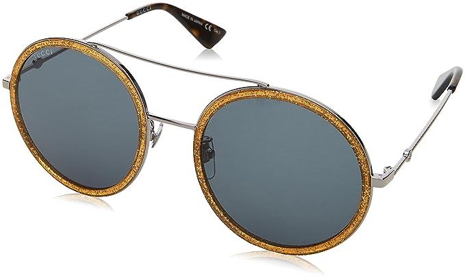 Gucci Damen Sonnenbrille GG0061S 007, Silber (Silver/Bluee), 56