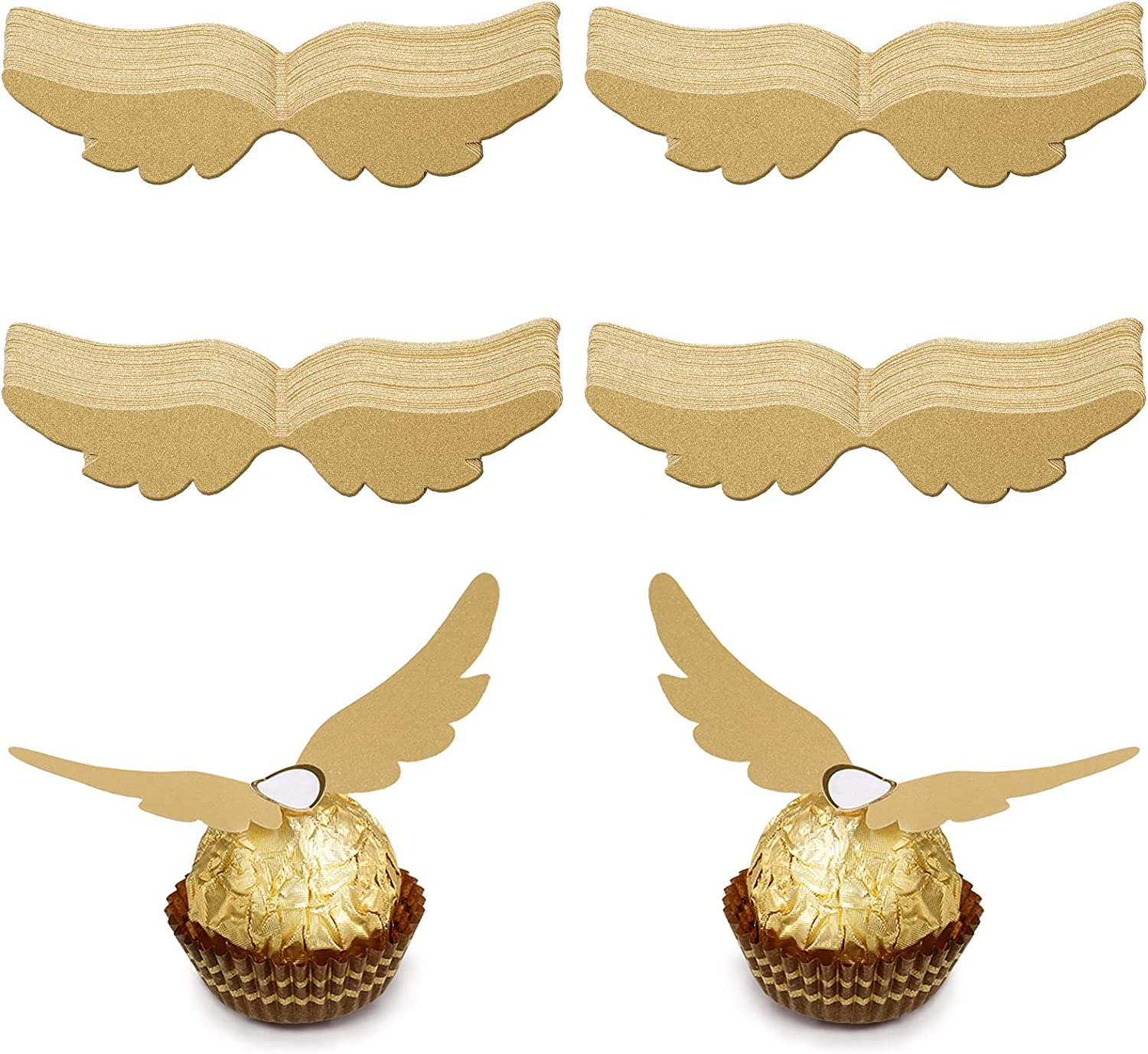 Zonon 48 Pieces Wizard Party Chocolate Decoration Gold Wings Decor for Birthday Wizard Fans Party Supplies