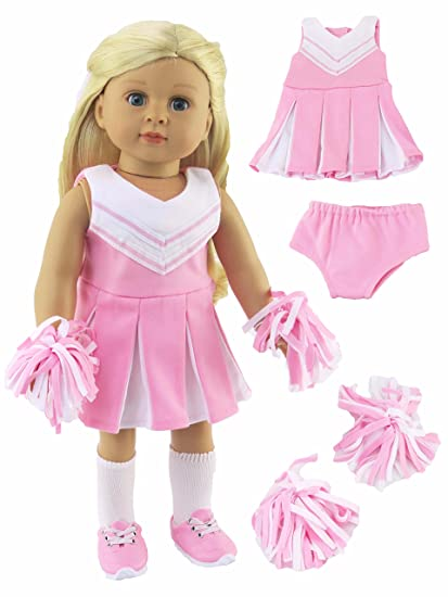 dbc16aff10f2 Amazon.com  Pink and White Doll Cheerleader Outfit - Outfit includes ...