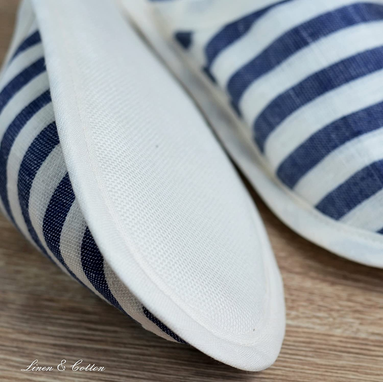 Linen /& Cotton Chaussons de Bain de Hommes//Femmes AKIRO 100/% Lin