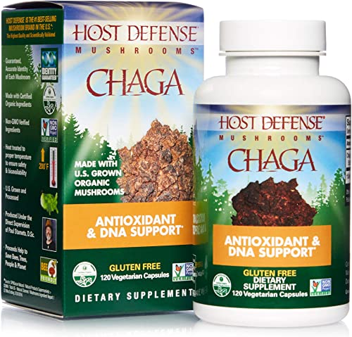 Host Defense, Chaga Capsules, Antioxidant and DNA Support, Daily Mushroom Supplement, Vegan, Organic, 120 Capsules 60 Servings