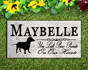Broad Bay Dachshund Dog Memorial Personalized Stone Marker Gift Custom Garden Marker Memory Sign Outdoor Grave Headstone