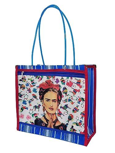 FRIDA KAHLO *PLEGARIA*. Bolsa de Mujer en Malla Multiusos, 43 x 36 x 16 cm, Estilo Mexicano Moderno. MEXICO