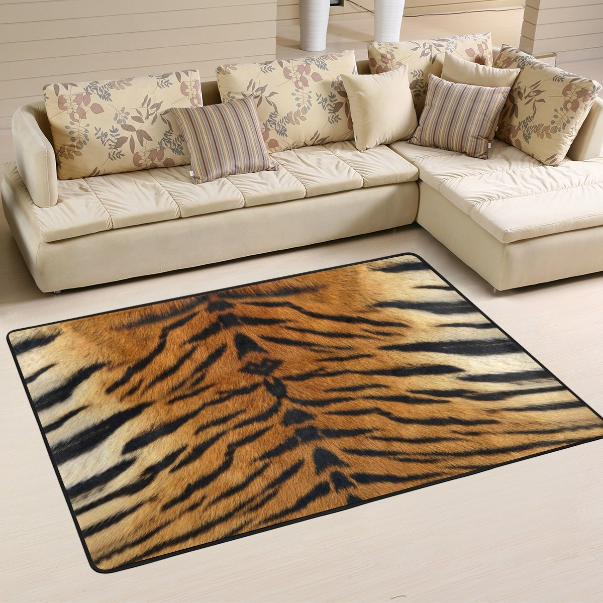 Naanle Animal Print Area Rug 2'x3', Tiger Print Polyester Area Rug Mat for Living Dining Dorm Room Bedroom Home Decorative