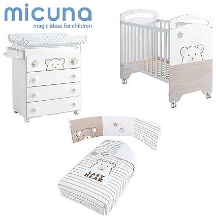Pack Cuna 60 x 120 + Bañera + Nórdico + Protector Bubu Blanco de Micuna