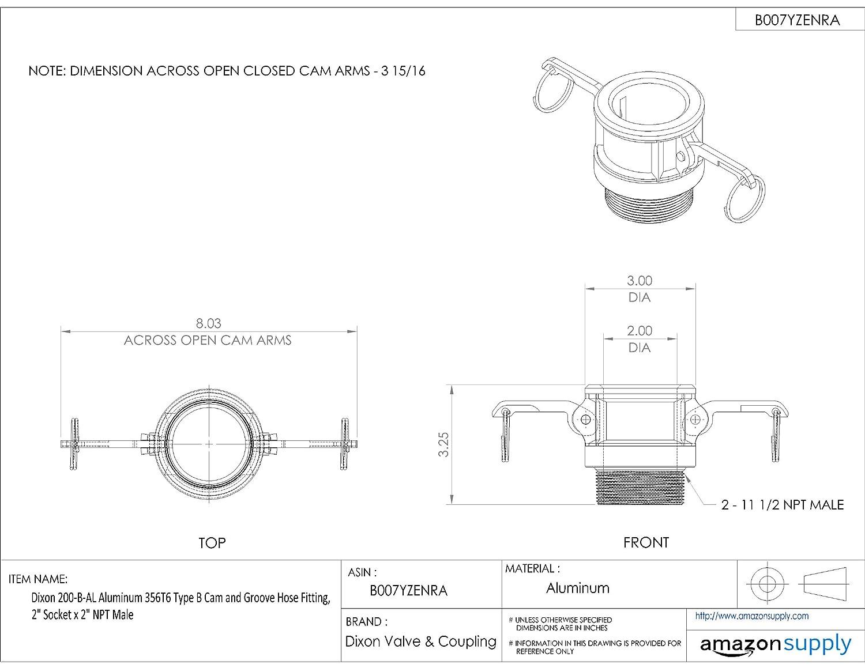 1-1//4 Socket x 1-1//4 NPT Male Dixon 125-B-AL Aluminum 356T6 Type B Cam and Groove Hose Fitting