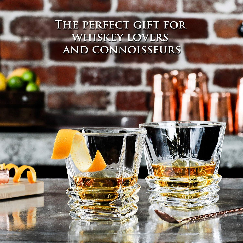 Art Deco juego de 2 vasos de Whisky en elegante caja de regalo. Vasos de licor de cristal sin plomo, Se Puede lavar en lavavajillas. Para Whisky, ...