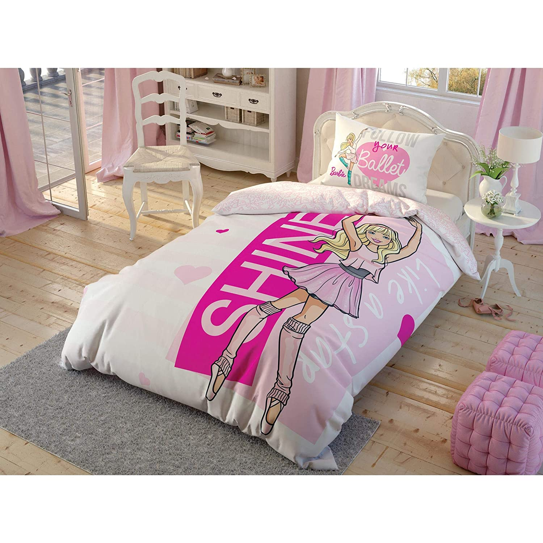 TAC Barbie Ballet%100 コットン寝具セット ライセンス商品 キルトカバーセット 羽毛布団カバー 枕ケース フィットシーツ B07KGJ9Q5Z