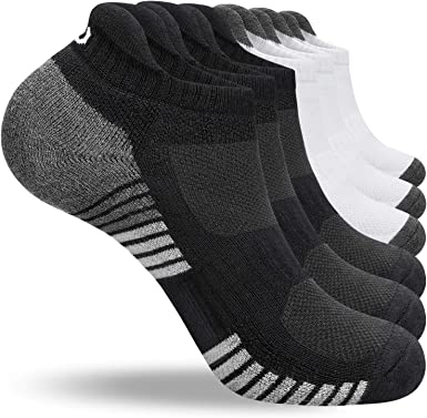 coskefy 6 Paar Sneaker Socken Herren Damen Gepolsterte Laufsocken 35-50 Schwarz Wei/ß Grau Baumwolle Sportsocken Atmungsaktiv