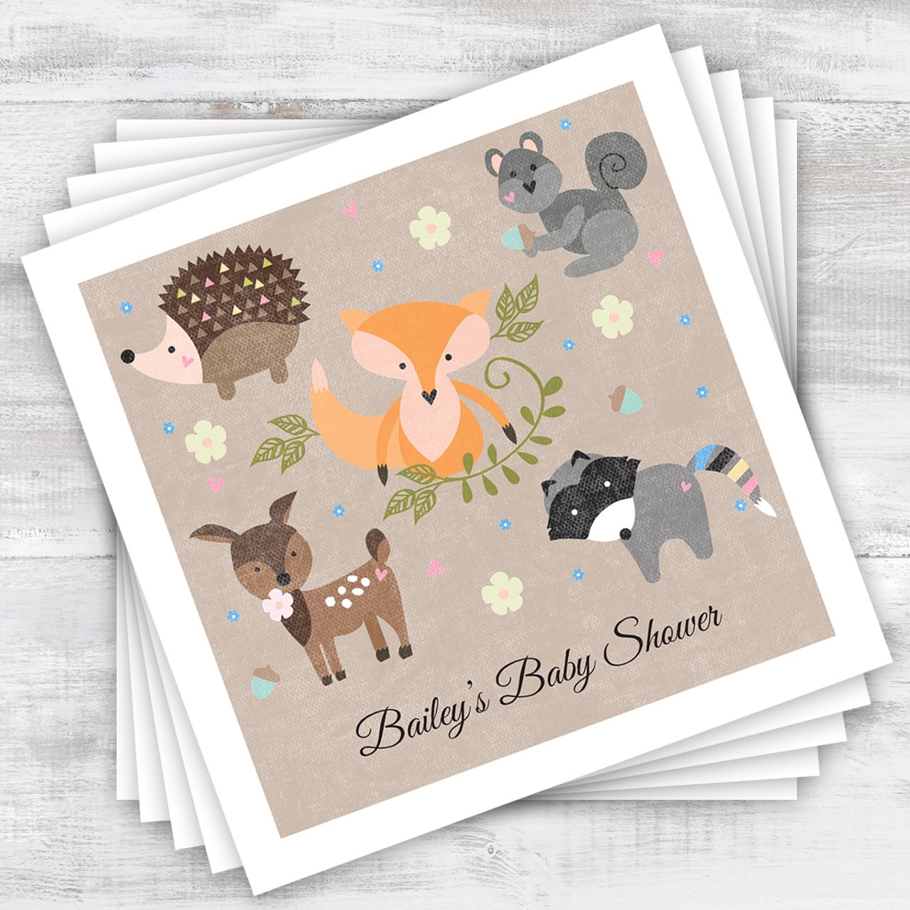 Woodland Animals Personalized Beverage Cocktail Napkins - 100 Custom Printed Paper Napkins by Canopy Street (Image #4)
