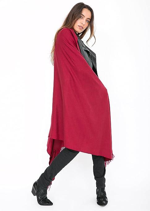 Châle  Kasa  en laine mérinos (Echarpe extralarge 100 X 215cm) Bordeaux   Amazon.fr  Vêtements et accessoires 7efe4777048