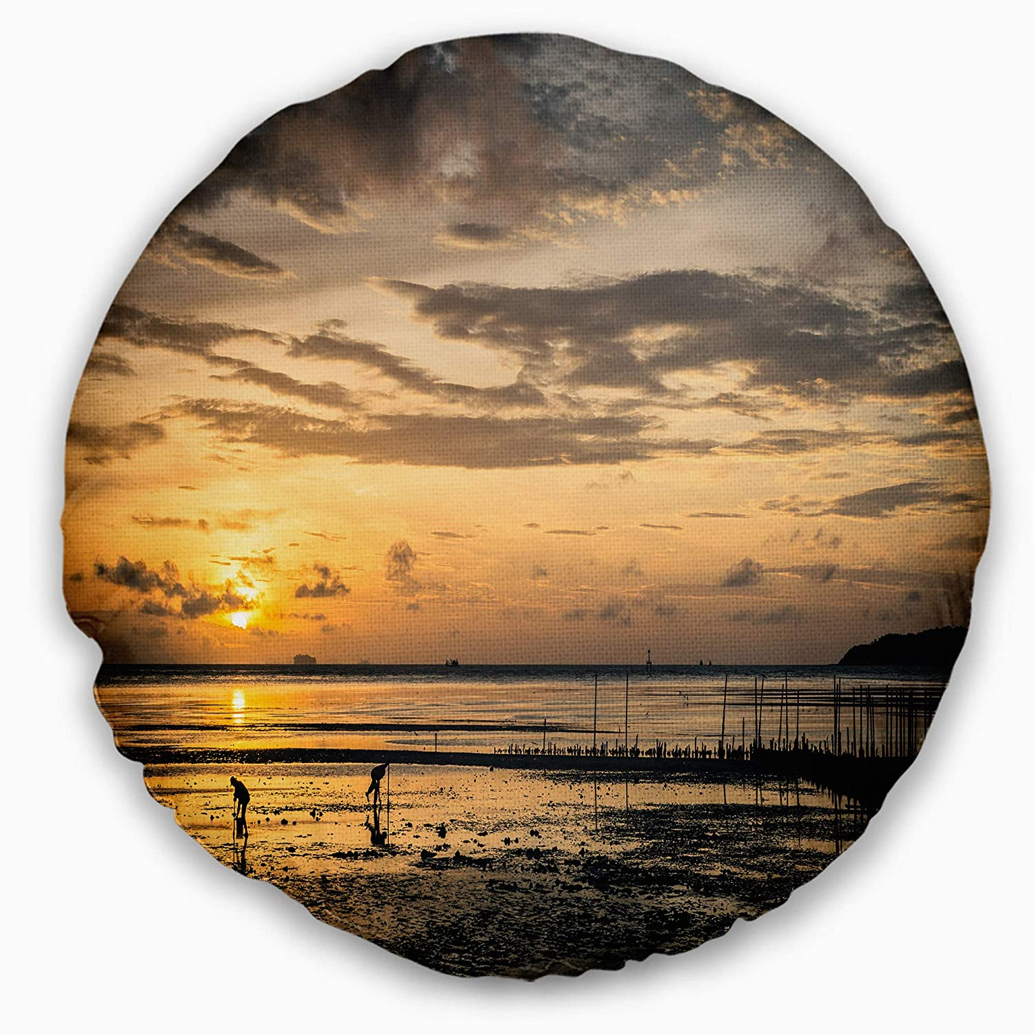 Designart Cu13876 20 20 C Dawn At Seaside During Low Tide Modern Seashore Round Cushion Cover For Living Room Insert Printed On Both Side Sofa Throw Pillow 20 Throw Pillow Covers Home Kitchen