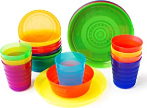 Plastic Dinnerware set for 8 | Kids dishes set include kids cups, kids plates, kids bowls | Rainbow colours for kids party indoor and camping | Reusable and Microwave Safe BPA Free for Kids & Toddler