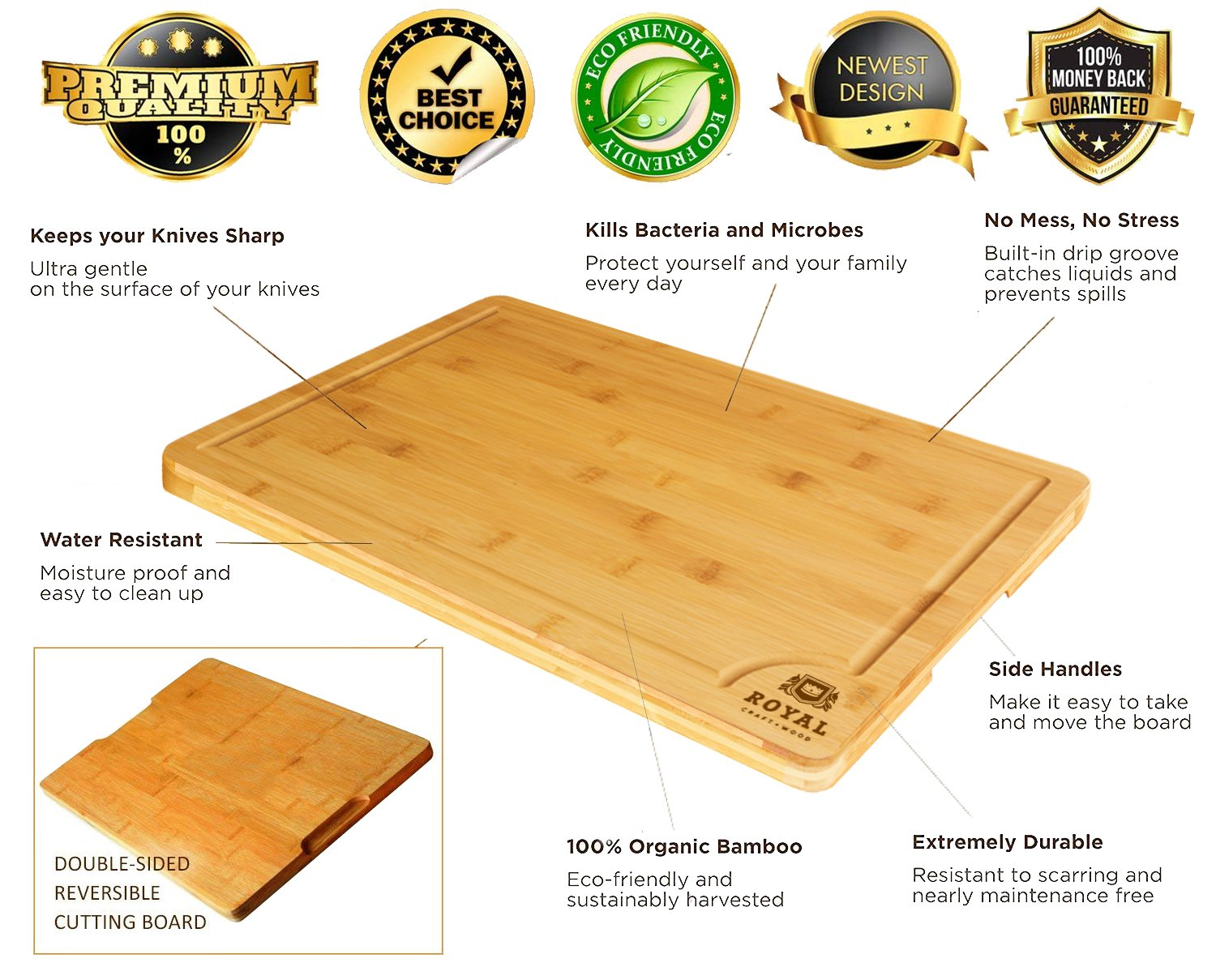 Bamboo Cutting Board w/Juice Groove & Handles - Butcher Block for Chopping Meat & Vegetables - Kitchen Cutting Boards, 10x15 by Royal Craft Wood (Image #3)