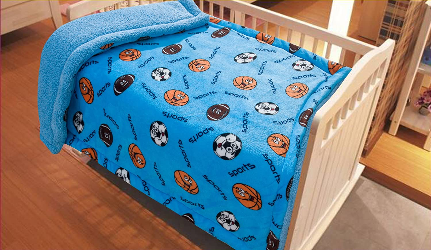 Elegant Home Kids Soft & Warm Sherpa Baby Toddler Boy Blanket Printed Borrego Stroller or Baby Crib or Toddler Bed Blanket Plush Throw 40X50 (Ball)