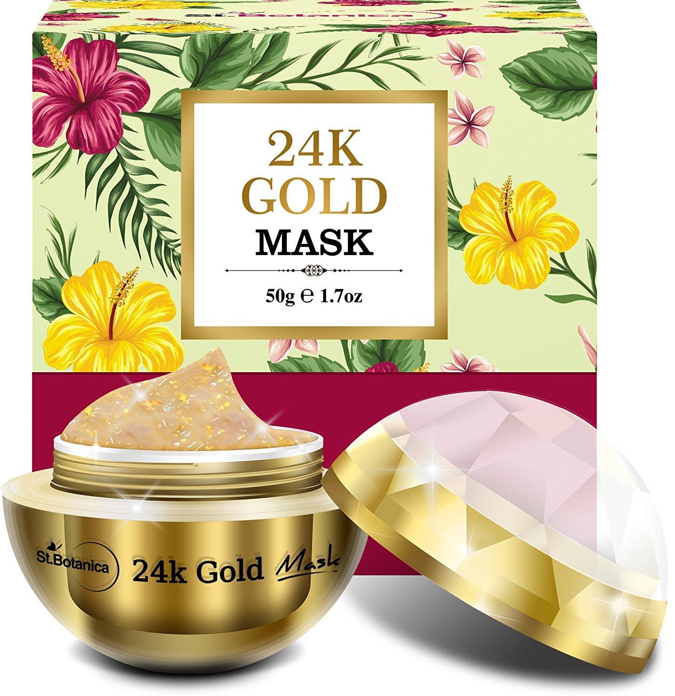 StBotanica 24K Gold Face Mask (Vitamin C, Retinol, Hyaluronic acid) Skin Brightening, Firming, Anti Aging Mask - 50gm