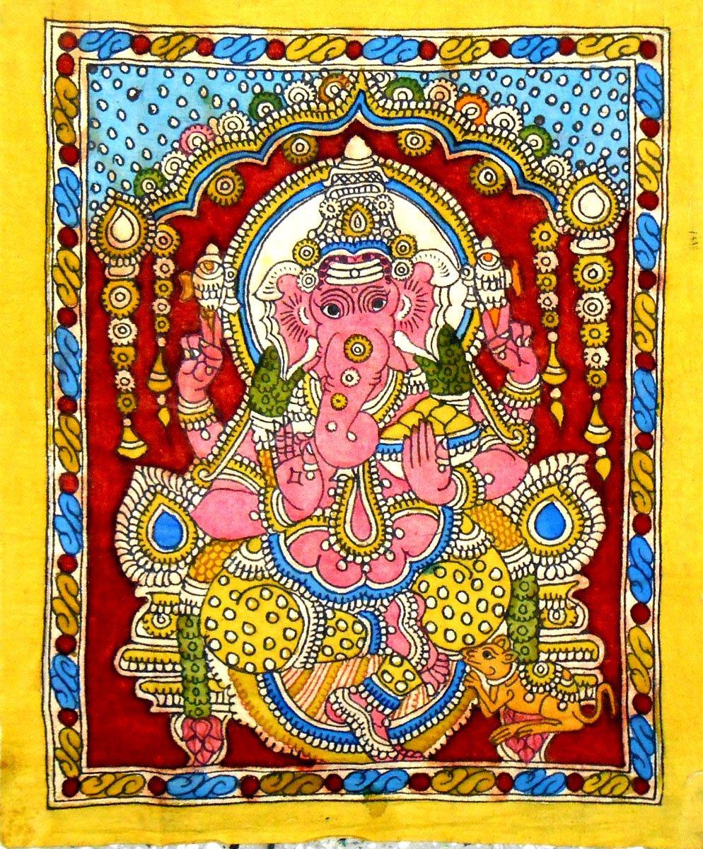 India Crafts Elephant God Ganesha - Kalamkari Painting on Cotton
