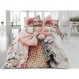 Ranforce 100% Turkish Cotton 6 Pcs!! Paris Eiffel Tower Theme Themed Perfect Design Full Queen Size Quilt Duvet Cover Set Bedding Linens