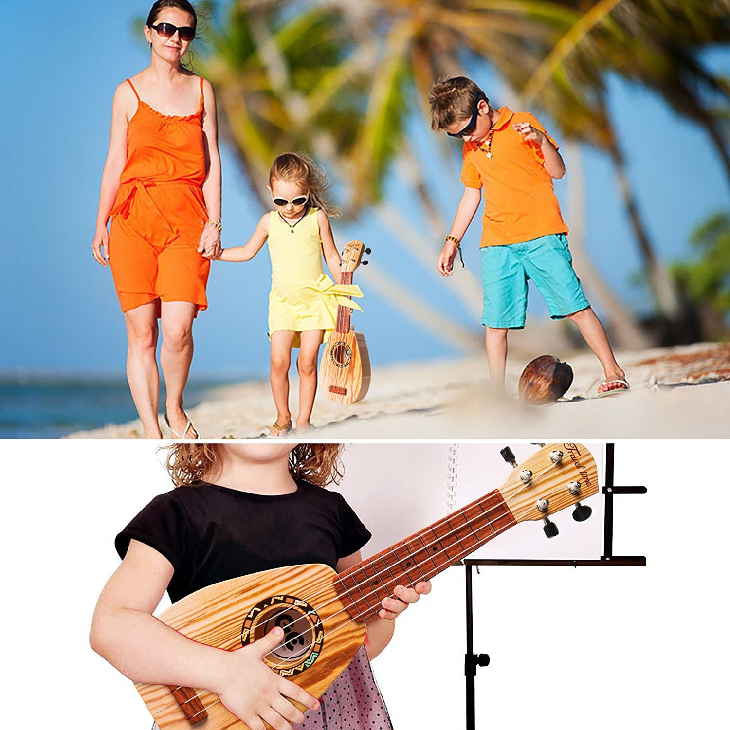 17 Inch Ukulele-2 17 Inch Mini Guitar Ukulele Toy For Kids,Guitar Children Educational Learn Guitar Ukulele With the Picks and Strap Can Play Musical Instruments Toys