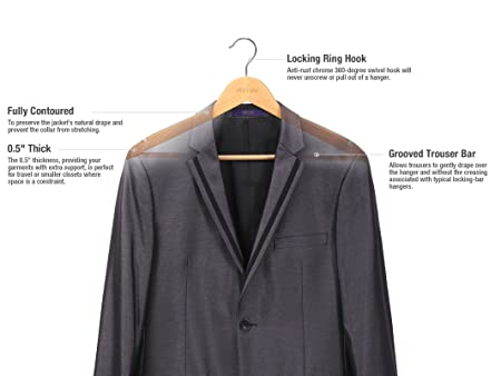antiscivolo bar & extra spessa Chrome Hook VEEYOO set di 20grucce in legno massiccio Legno Natural Finish Suit/Dress Hanger robusta e durevole appendiabiti