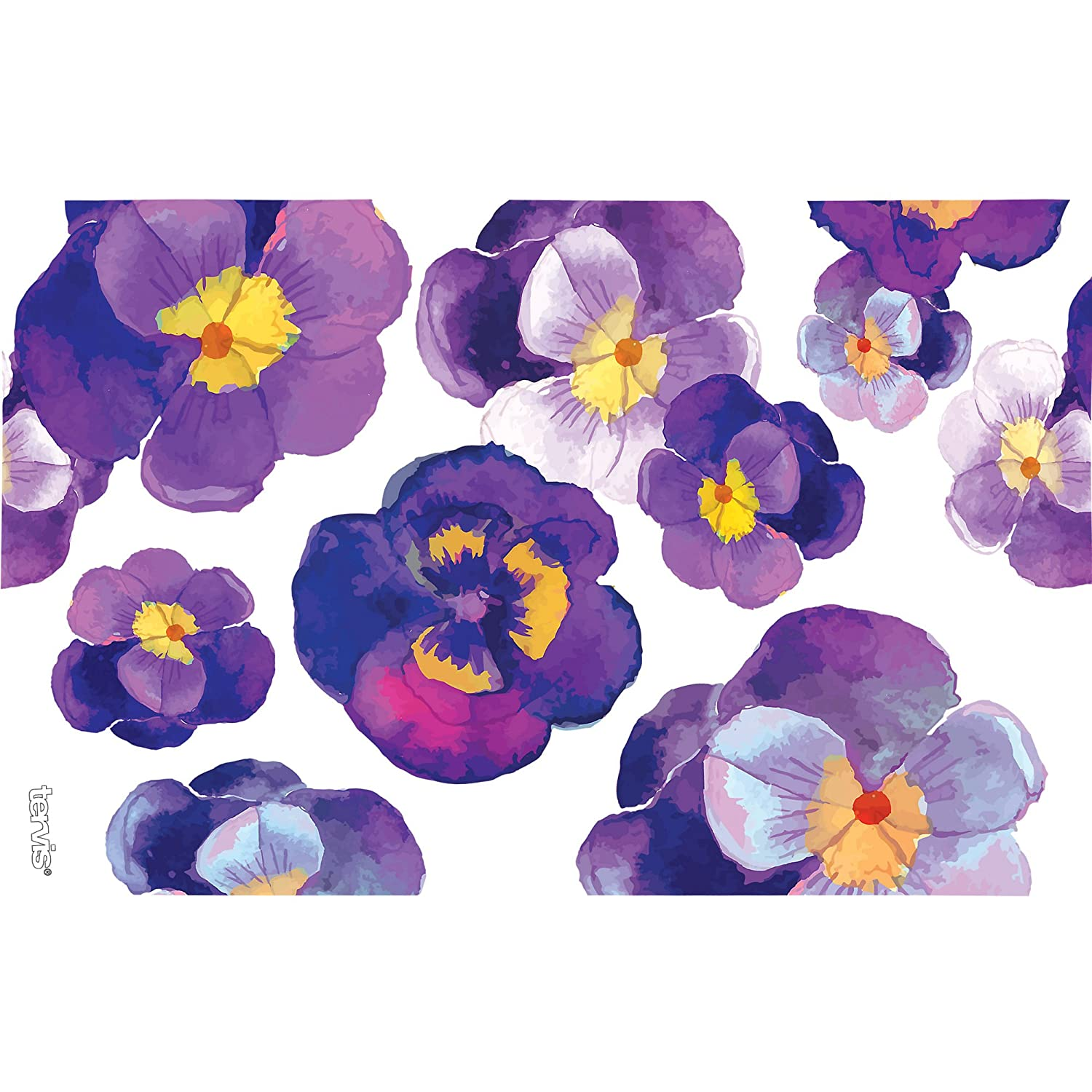 Tervis 1243665 Watercolor Pansy Tumbler with Wrap and Royal Purple Lid 16oz Clear