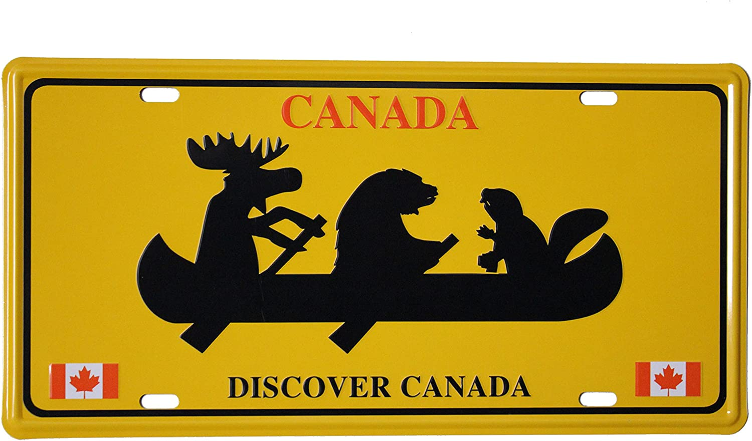 Beaver Moose On Boat  Souvenir CAR LICENSED PLATE..New Bear DISCOVER CANADA