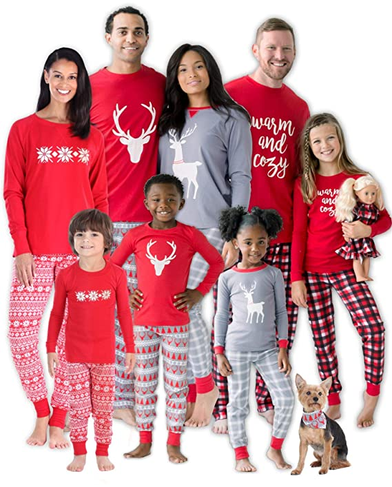 SleepytimePJs Christmas Family Matching Mix and Match Red Holiday Pajama PJ Sets(STM-3039-M-2135-XL) best Christmas pajamas for families