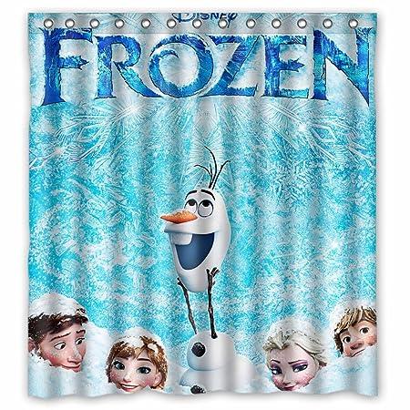 Frozen Cartoon Movie Elsa Anna Olaf Kristoff Sven Waterproof Bathroom Bath Polyester Standard Size 66W X 72H Shower Curtain Amazoncouk Kitchen