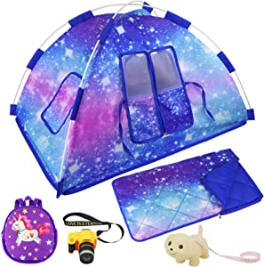 Ecore Fun 5 Items 18 inch Dolls Camping Tent Set and Accessories Including 18 Inch Doll Tent, Doll Sleeping Bag, Doll Backpack, Toy Camera and Dog