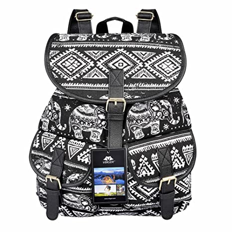 1c4928116d Vbiger Canvas Backpack for Women   Girls Boys Casual Book Bag Sports Daypack  (Elephant Black)  Amazon.in  Bags