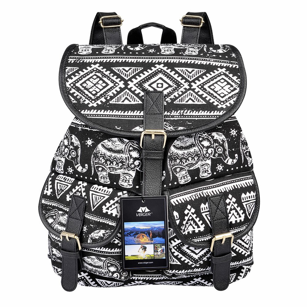 Vbiger Canvas Backpack for Women & Girls Boys Casual Book Bag Sports Daypack (Elephant Black)