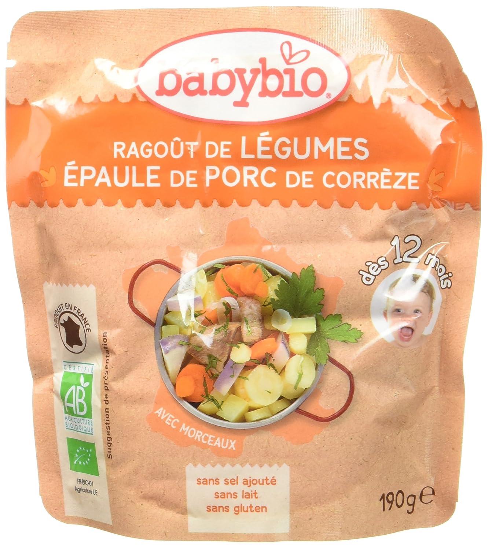 Babybio Sachet Ragoût de Légumes/Épaules de Porc de Corrèze 190 g - Lot de 6 57080 alimentation bébé diversification