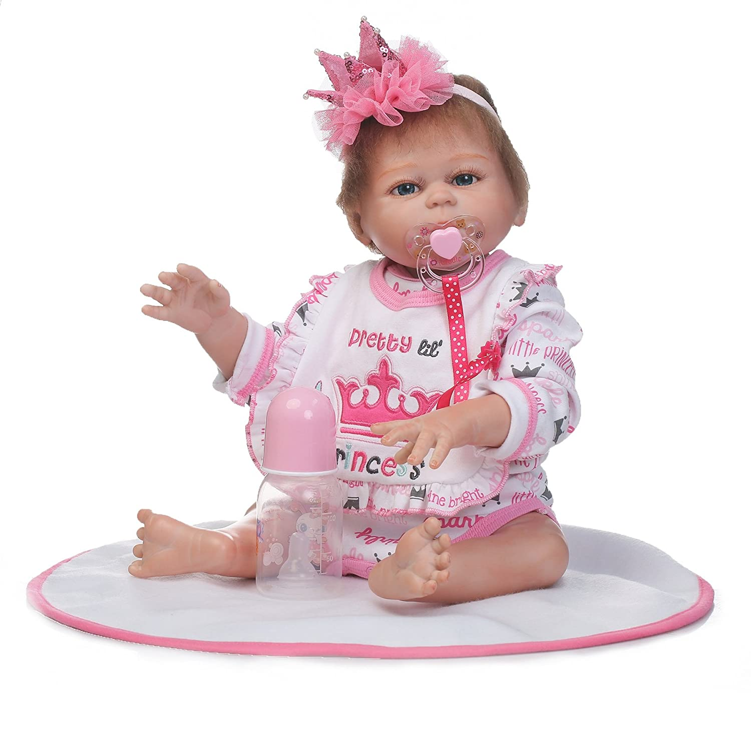 NPK Reborn Baby Doll Baby Girl Full Body Silicone 20inch Realistic Anatomically Correct Washable Pink Outfit NPKDOLLS