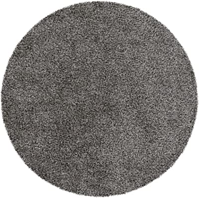Diva At Home 8' Plush of Furry Elegance Dim Gray and Onyx Black Round Hand Tufted Area Throw Rug