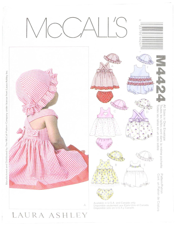 Amazon.com: McCall\'s Patterns M4424 Infants\' Dresses, Rompers ...