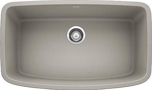 BLANCO, Concrete Gray 442756 VALEA SILGRANIT Super Single Bowl Undermount Kitchen Sink, 32 X 19